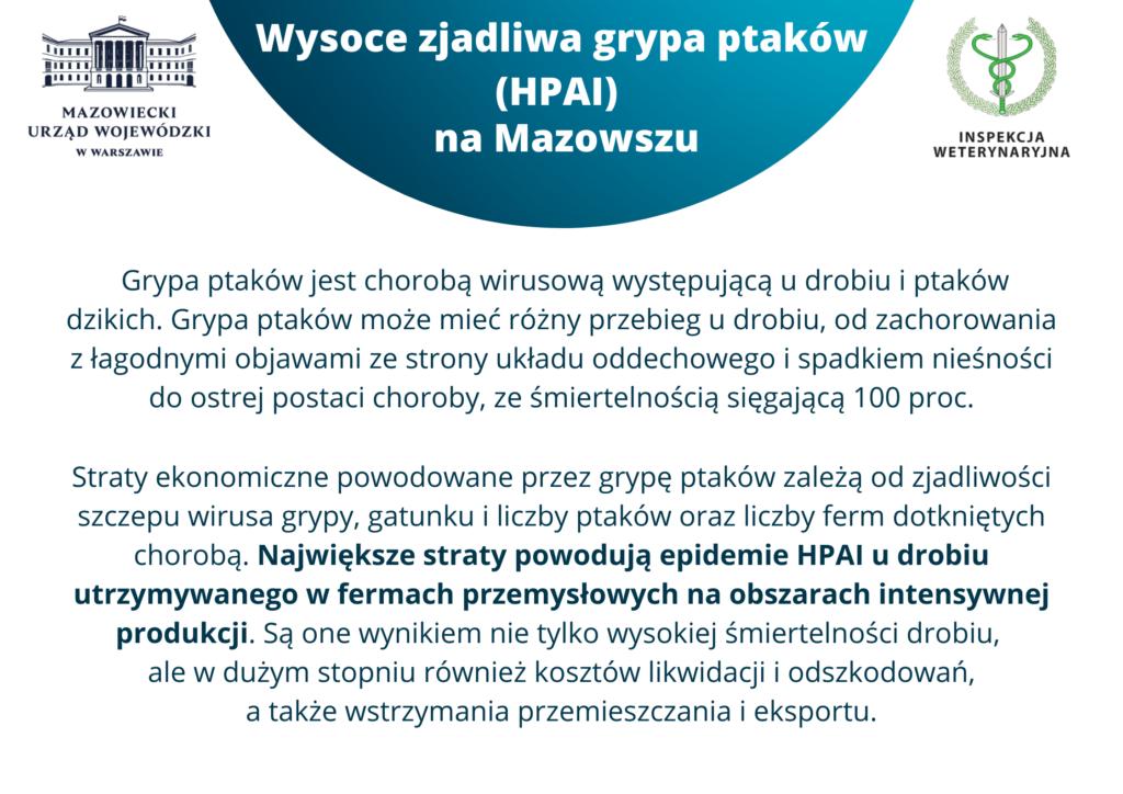 Ulotka informacyjna - Wysoce zjadliwa grypa ptaków (HPAI) na Mazowszu - część 1