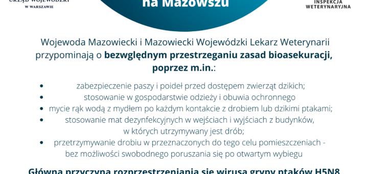 Ulotka informacyjna - Wysoce zjadliwa grypa ptaków (HPAI) na Mazowszu - część 2.
