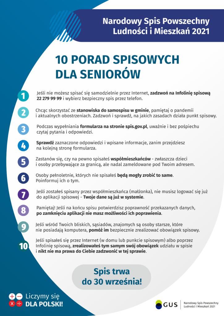Jak przygotować się do spisu, aby był on bezpieczny, szczególnie dla osób starszych? (plakat)